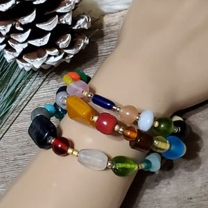 Multicolored Beaded Memory Wire Bracelet